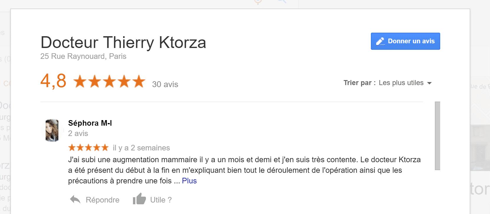 Avis sur le docteur Thierry Ktorza